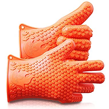 NEW 2016 Long Ekogrips Max Heat Silicone BBQ Gloves - Best Brand Heat Resistant Cooking And Grill Gloves - Protect Your Hands And Avoid Accidents - Insulated Waterproof Five-Fingered Grip
