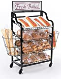 """Fresh Baked"" Bakery Merchandiser with Adjustable Shelves, (2) Side Baskets for Baguettes, (2) Sign Holder Options, Locking Wheels, Black"