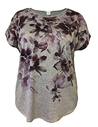 LEEBE Plus Size Floral Print with Stones Top
