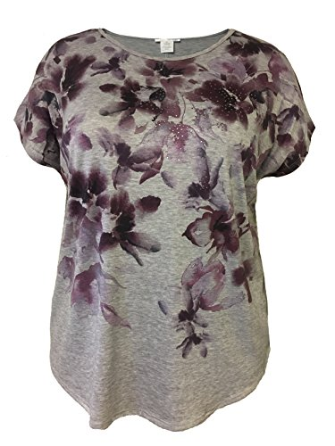 LEEBE Plus Size Floral Print with Stones Top (1X, Heather Grey)