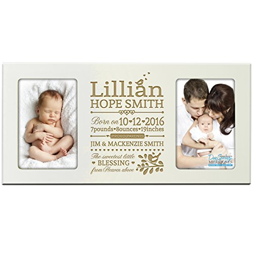 (Personalized New Baby birth announcement picture frame for newborn boys and girls Custom engraved photo frame for new mom and dad parents and grandparents holds 2 4x6 photos (Ivory))