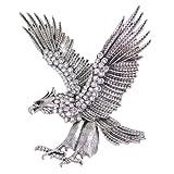 EVER FAITH Vintage Style 4 Inch Big Eagle Brooch Clear Austrian Crystal