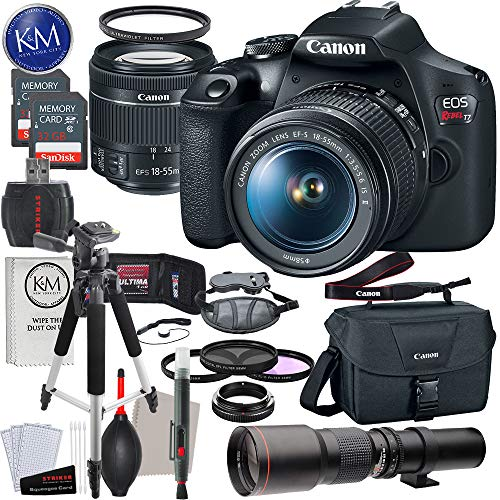 Canon EOS Rebel T7 DSLR Camera with 18-55mm & 500mm Lens Bundle