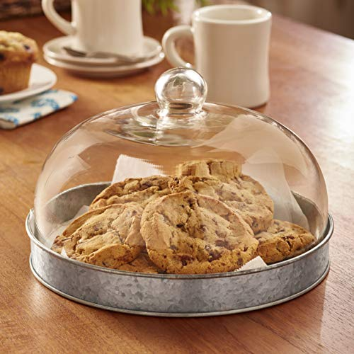 Glass Domed Serving Plate for Cake, Cookies, Pie and Pastries - Galvanized (Plates Cakes For)