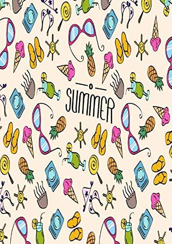 Sommer mit buntem Strandequipment: sommerliches Notizbuch für jedermann (German Edition) (Ananas Mit Sonnenbrille)