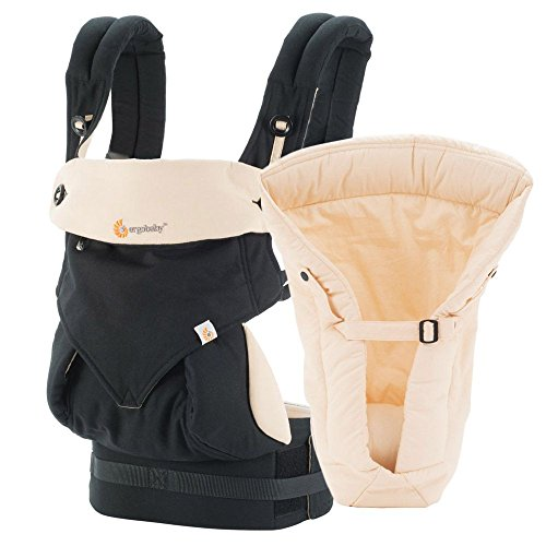 Ergobaby Bundle - 2 Items: Black/Camel 4 Position 360 Carrier with Natural Infant Insert by ERGObaby