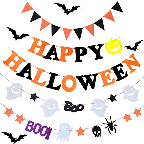 4PCS Halloween Banner Set Wall Decoration including Happy Halloween Banner with Bunting Pumpkin Sign, Triangle Flag, Ghost Spider Skull Cotton Fabric Pennant Home, Outdoor, Garden Decor Party Supply -