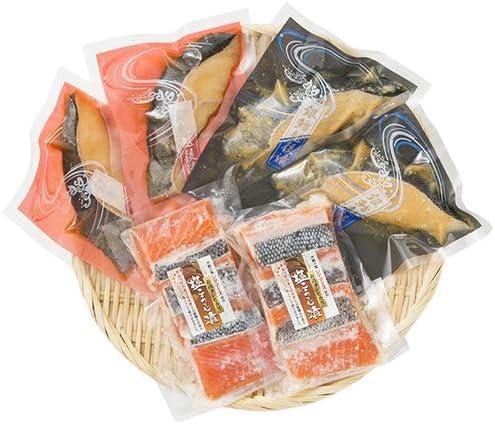 銀鱈越後漬け(辛味醤油)×2、銀鱈越後漬け(越後味噌)×2、鮭塩こうじ漬け(3切れ入)×2