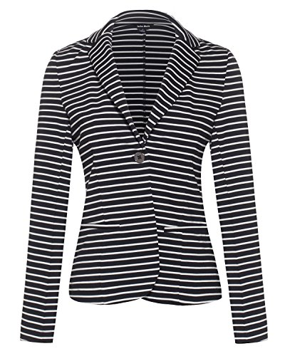 Women's Classic Casual Work Solid Color Knit Blazer (B48917 Black/White, Medium)