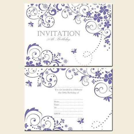 50th Birthday Invitations Postcard Girls Lilac Butterfly Swirls