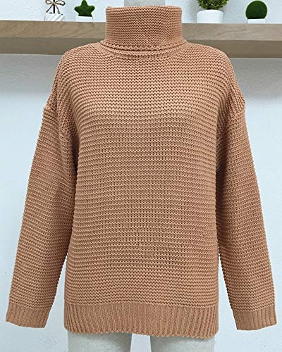 Unie AnyuA Tricots Longues OL Femme Haut Manches Pink Pull Col Couleur Chandail Eqcw0ZryWE