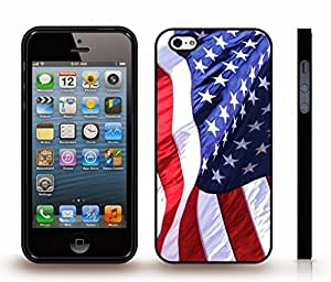 iStar Cases? iPhone 5/5S Case with Realistic American Flag, Extreme detail and Realism , Snap-on Cover, Hard Carrying Case (Black)
