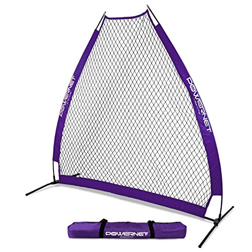 PowerNet 7 Foot Portable Pitching Screen A-Frame (Purple) | Baseball Pitcher Protection | Instant Player and Coach Protector from Line Drives Grounders | Heavy Duty Knotted Netting | BP ()