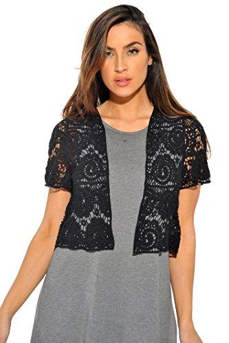 - 401148-Blk-XL Just Love Bolero Shrug / Women Cardigan,Black Paisley Crochet,X-Large,Black Paisley Crochet,X-Large