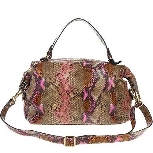 (CAROL J. Italian Made Snake Python Embossed Small Leather Satchel Bag)