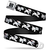 Buckle-Down Seatbelt Belt - Dalmatians Running/Paws Black/Gray/White/Black - 1.5' Wide - 24-38 Inches in Length