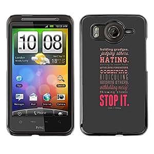 Caucho caso de Shell duro de la cubierta de accesorios de protección BY RAYDREAMMM - HTC G10 - Hate Forgiveness Stop Love Positive Attitude