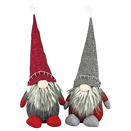 Hanna's Handiworks Large Gnome Hat Sitter Red Grey 23 x 11 Fabric Christmas Figurines Set of 2