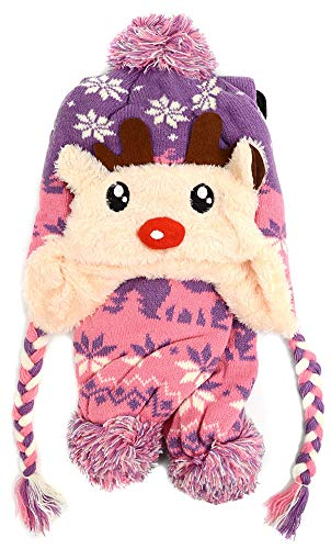 Top Purple Knitted Reindeer Animal Hat & Loop Scarf for Kid 3D Animated Jungle Zoo Fleec Winter Beanie Set Special Silly Last Minute Christmas Stocking Stuffer Gift Idea Toddler Child Little Girl 2018