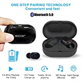 True Wireless Earbuds Bluetooth Headphones - ABSGON Latest Bluetooth 5.0 Deep Bass TWS Stereo Sound Wireless in-Ear Earbuds Noise Cancelling Headsets with Built-in Mic and Charging Case - Black