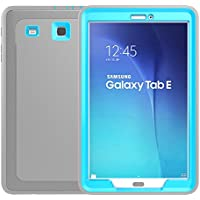 DUNNO Samsung Galaxy Tab Case, 3 In1 PC + TPU + Leather Hybrid [Stand] Shockproof Protective Cover Case with Auto Wake / Sleep for Samsung Galaxy Tab E 9.6 SM-T560,Color (Gray+Light Blue)