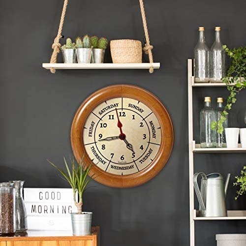 DayClocks Combination Analog Wall Clock Time of Day and Day of The Week Wall Clock – Fun Retirement Gift Pine Wood Frame