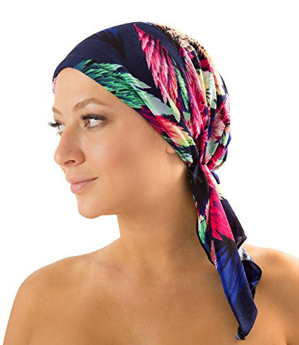 Ashford & Brooks Women's Pretied Fitted Headscarf Chemo Bandana - Blue/Pink Tropical Fronds