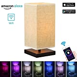 Smart Home Wifi Table Lamp Work with Android and IOS System,Amazon Alexa ,Voice control power ON/OFF,Dimming and Change Color. Support APP Controls (A)