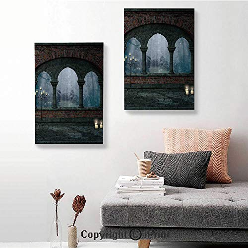 SfeatruRWF Canvas murals,Medieval Castle at Night with Old Arch and Candles Middle Age Misty Image,16