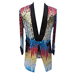 Shawl Collar Long Pattern Shiny Sequins Jacket