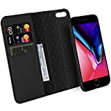 iPhone 7 8 Plus Case ZOVER Genuine Leather Luxury Series Support Wireless Charging Magnetic Car Mount Holder Detachable Wallet Case Kickstand Feature Card Slots Magnetic Closure Gift Box Black