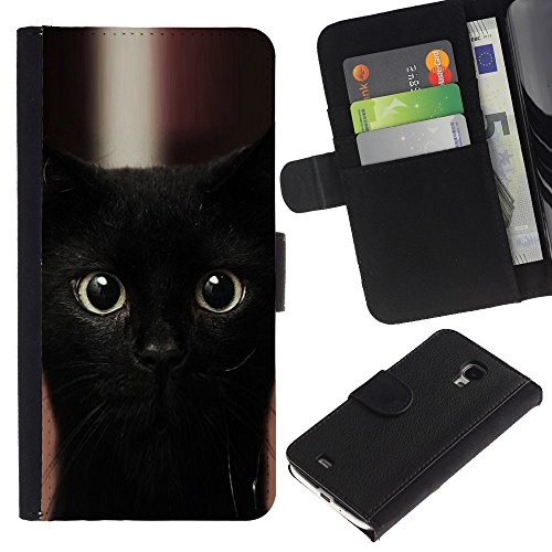 EuroCase - Samsung Galaxy S4 Mini i9190 MINI VERSION! - black kitten cat Bombay nebelung - Cuero PU Delgado caso cubierta Shell Armor Funda Case Cover