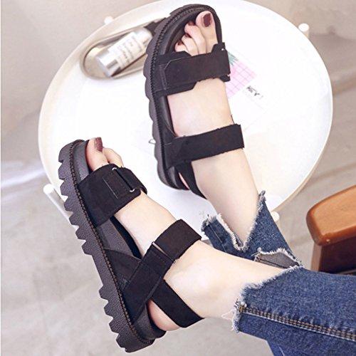 Sandals Thick-Bottom Schoolgirl Summer Korean Harajuku Style Flat Bottom Platform Shoes Black 1 ZDRGU