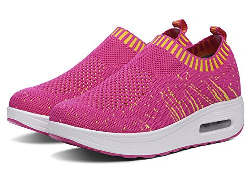 Womens Casual Outdoor Slip-On Mesh Shoes Walking Fashion Sneaker,Running Shoes Rose Red