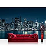 """photo wall murals Photo wallpaper - skylines city USA - 137.8""""W by 96.5""""H (350x245cm) - Non-woven PREMIUM PLUS - NEW YORK BLUE NIGHT SKYLINE - Wall Decor Photo Wall Mural Door Wall Paper Posters & Prints"""