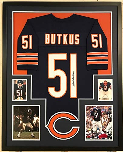 FRAMED DICK BUTKUS AUTOGRAPHED SIGNED CHICAGO BEARS JERSEY JSA ()