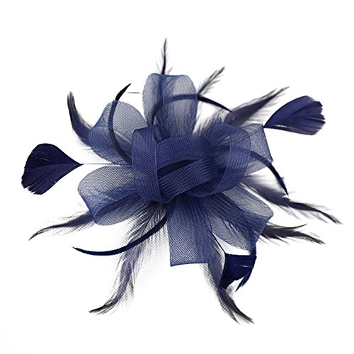Auranso Handmade Feather Ribbon Hair Band Fascinator Hat Vintage Mesh Flower Knot Headband With Hair Clip Ming - Vintage Baby Headbands