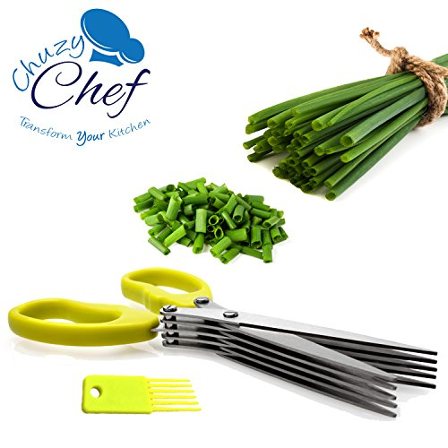 Herb Scissors Multipurpose Kitchen Shears Stainless Steel 5 Blade with Cleaning Brush Chuzy Chef (Food Network Kitchen Gadgets compare prices)