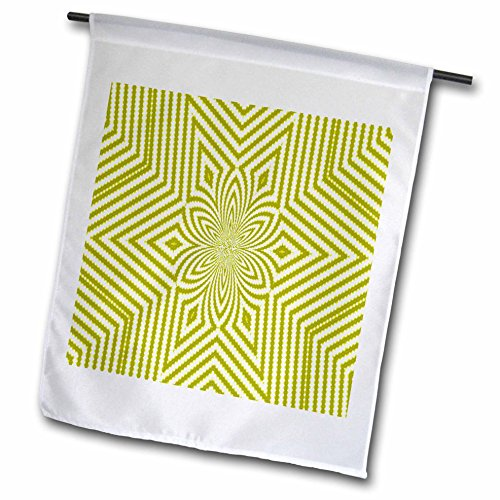 3dRose fl_18473_1 Textile Pattern Lime Green and White Large Star Garden Flag, 12 by 18-Inch