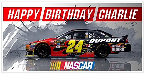 (Red Sports Car NASCAR Birthday Banner Personalized Party Backdrop)