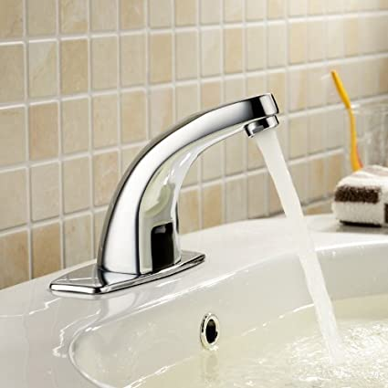 Faucets - Sensor Faucets - Brass Bathroom Sink Faucet with Automatic Sensor  and Pop up Waste ...