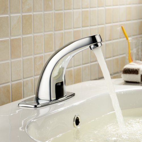 - Deck Mount Solid Brass Auto Sensor Bathroom Sink Faucet with Automatic Sensor Chrome Bath Tub Faucet Unique Designer Vanity Plumbing Fixtures Roman Tub Faucets Lavatory Glacier Bay Faucets
