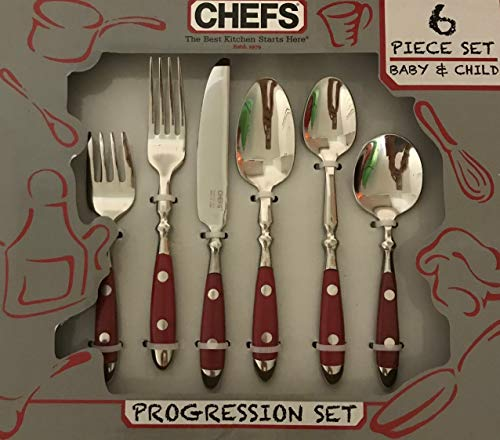 CHEFS Baby & Child Progression Flatware Set RED Handle