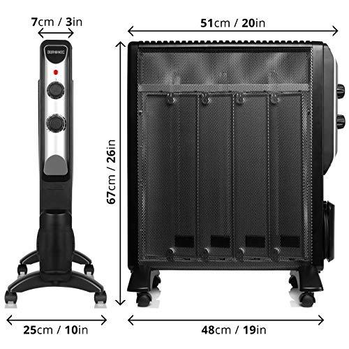 Duronic HV220 Calefactor Radiador Eléctrico Bajo Consumo con Panel de Mica y Termostato, Paneles Calefactores 2000 W Libre De Aceite Que Calientan en ...
