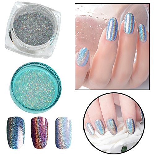 Fenleo Mirror Holographic Rainbow Effect Nail Art Glitter Powder Chrome Pigment (Tech Chrome Mirror)