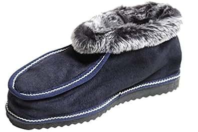 Brubaker - Zapatillas de estar por casa de piel para mujer azul Bleu Marine 37 ksvy2Gxn