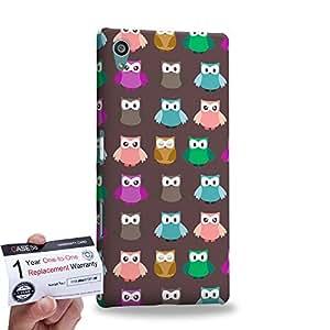 Case88 [Sony Xperia Z5] 3D impresa Carcasa/Funda dura para & Tarjeta de garantía - Art Owl Pattern Brown Kawaii Owl