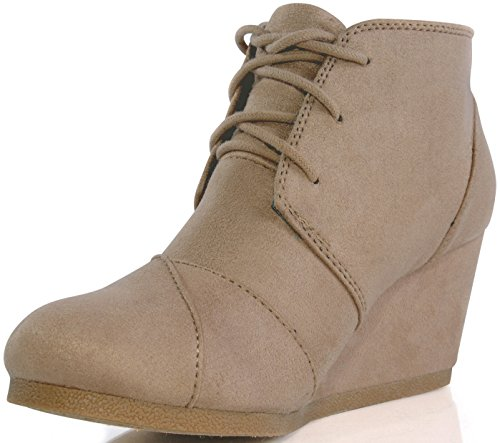MARCOREPUBLIC Galaxy Womens Wedge Boots - (Taupe) - 10 by MARCOREPUBLIC (Image #2)'