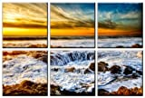 Sunset Wave seascape print on canvas, sunset sea canvas prints, beach wave canvas print, beach canvas designs, framed 6 panel print, ocean wall art