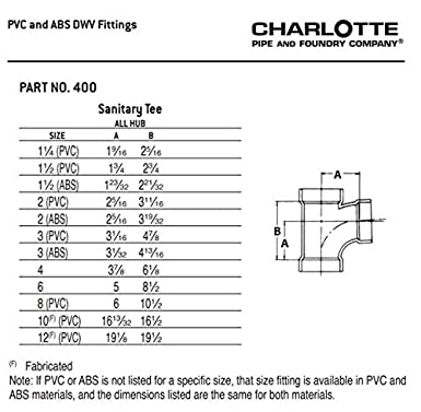 Schedule 40 Charlotte Pipe 4 DWV Sanitary Tee All Hub ABS DWV Single Unit Drain, Waste and Vent